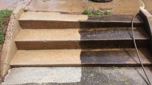 pressure washing concrete stairs