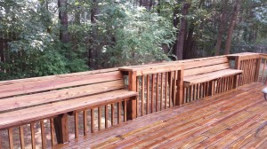 wood deck AFTER pressure washing
